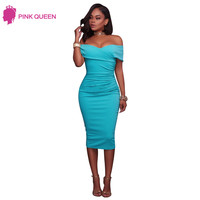 Pink Queen Off Shoulder Summer Dress 2017 Clothes Women Cyan Ruched Short Sleeve Bodycon Midi Sheath Dress Vestidos Mujer