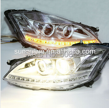 For Mercedes-Benz  S class  W221 DRL LED Head Light 2006-2009 with D1S hid kit mercedes actros 1844 2009