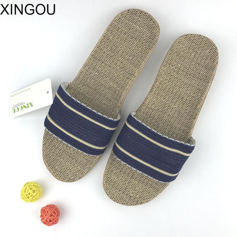 New 2018 fashion men home slippers Natural flax slippers home Hemp men's slippers home indoor home slipper and Linen Slides coolsa men s summer linen silppers breathable non slip fashion home slippers men s hemp basic slides men s indoor flax slippers