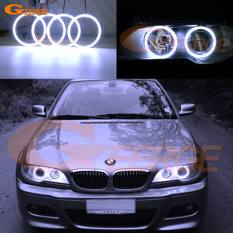 For BMW E46 325ci 330ci 2004 2005 2006 Xenon headlight Excellent angel eyes Ultra bright illumination COB led angel eyes kit 2pcs purple blue red green led demon eyes for bixenon projector lens hella5 q5 2 5inch and 3 0inch headlight angel devil demon