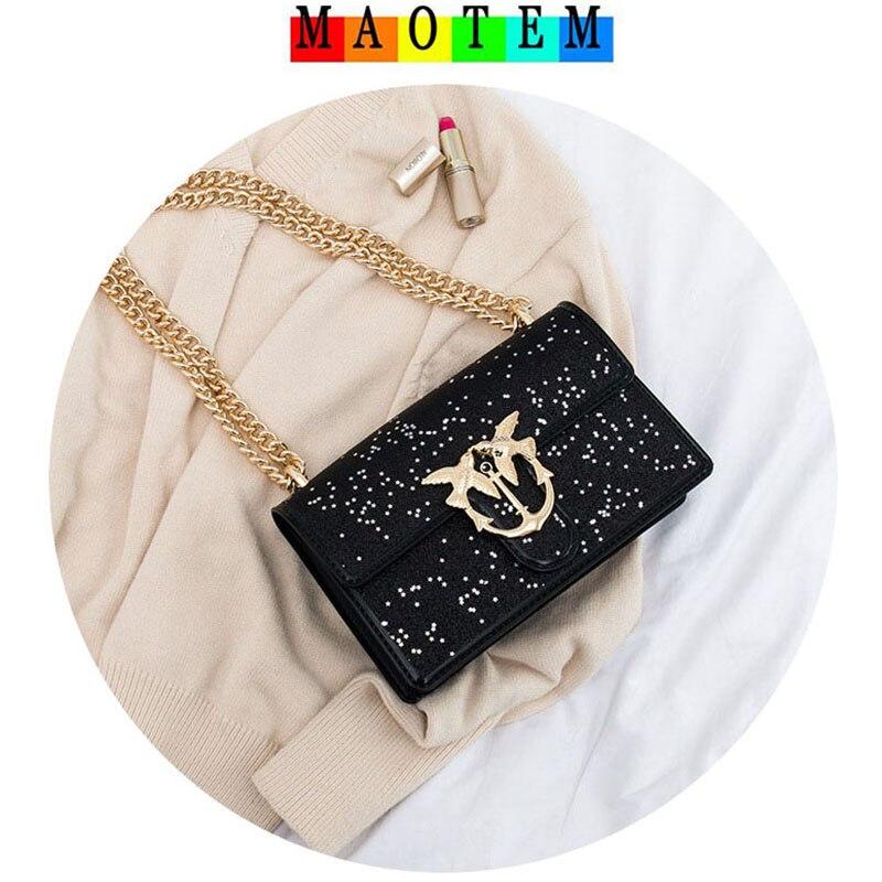 Maotem Для женщин небольшой лоскут цепи Ласточка Курьерские сумки, 2018 Новый Известный дизайнер сумка через плечо, высокое качество ПВХ кожа же...