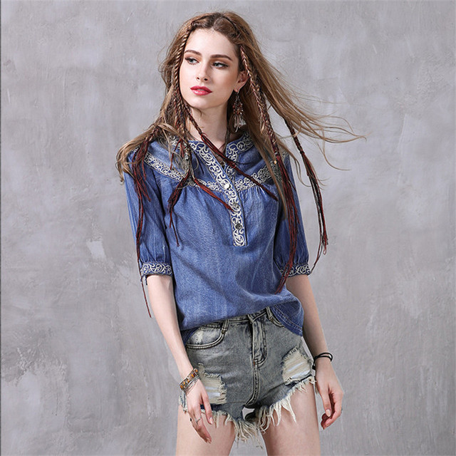 203817ba1c Vintage Summer Denim Blouse Tops 207 New V-neck Half Sleeve Floral  Embroidery Cotton Casual Loose Shirt Blusas