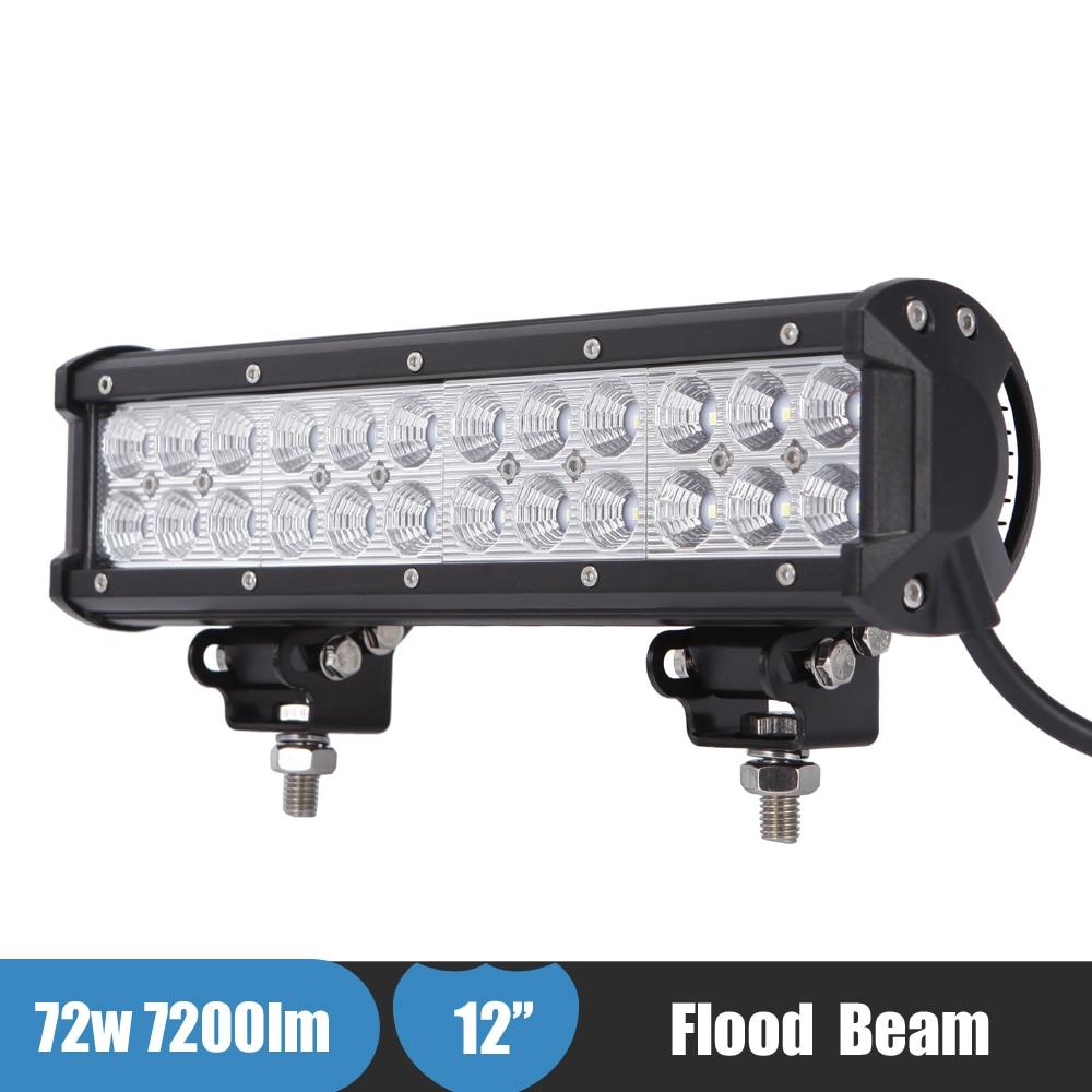 72w led light bar 12 work light for polaris sportsman ranger atv