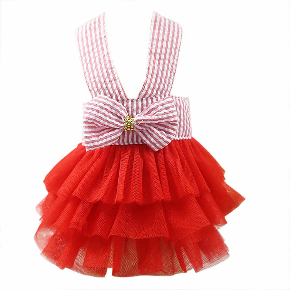 Пузырь хлопковая юбка в полоску кружевное платье собака костюм для животного платья принцесс для собак отдыха Regular Простые Модные ropa Перро pequeño