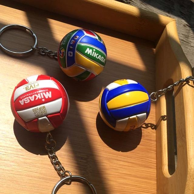 150 unids/lote 3,8 cm Mini PVC llavero de voleibol llavero deportivo coche bola llavero anillo mujer llavero regalo de Navidad venta al por mayor