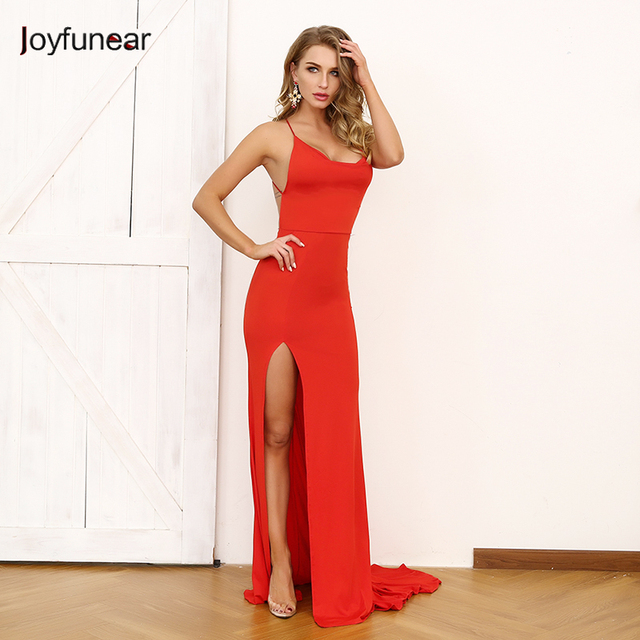 8be39acc Joyfunear Red Backless Empire Long Dress Sexy High Split Sling Women Dresses  2019 Fashion Summer Bodycon Dress Vestidos