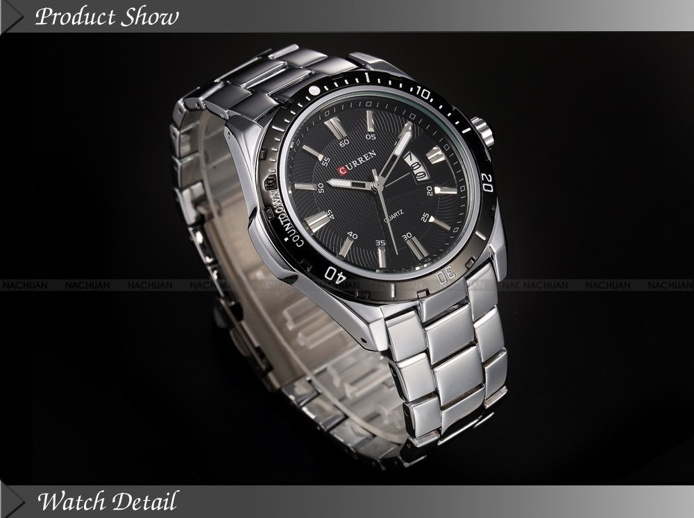 Mens Watches Top Luxury Brand CURREN 18 Men Full Steel Watches Quartz Watch Analog Waterproof Sports Army Military WristWatch 23