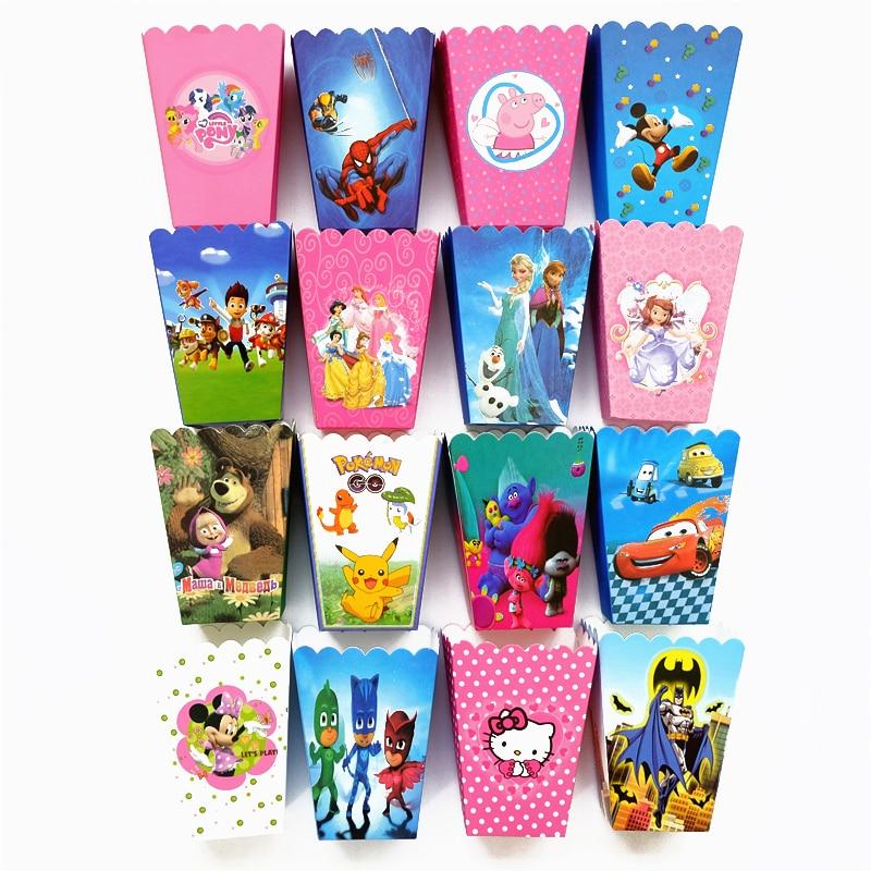 6pcs/lot mickey trolls pokemon Go minnie sofia batman cars Popcorn Box Gift Box Favor Accessory kids Birthday Party Supplies