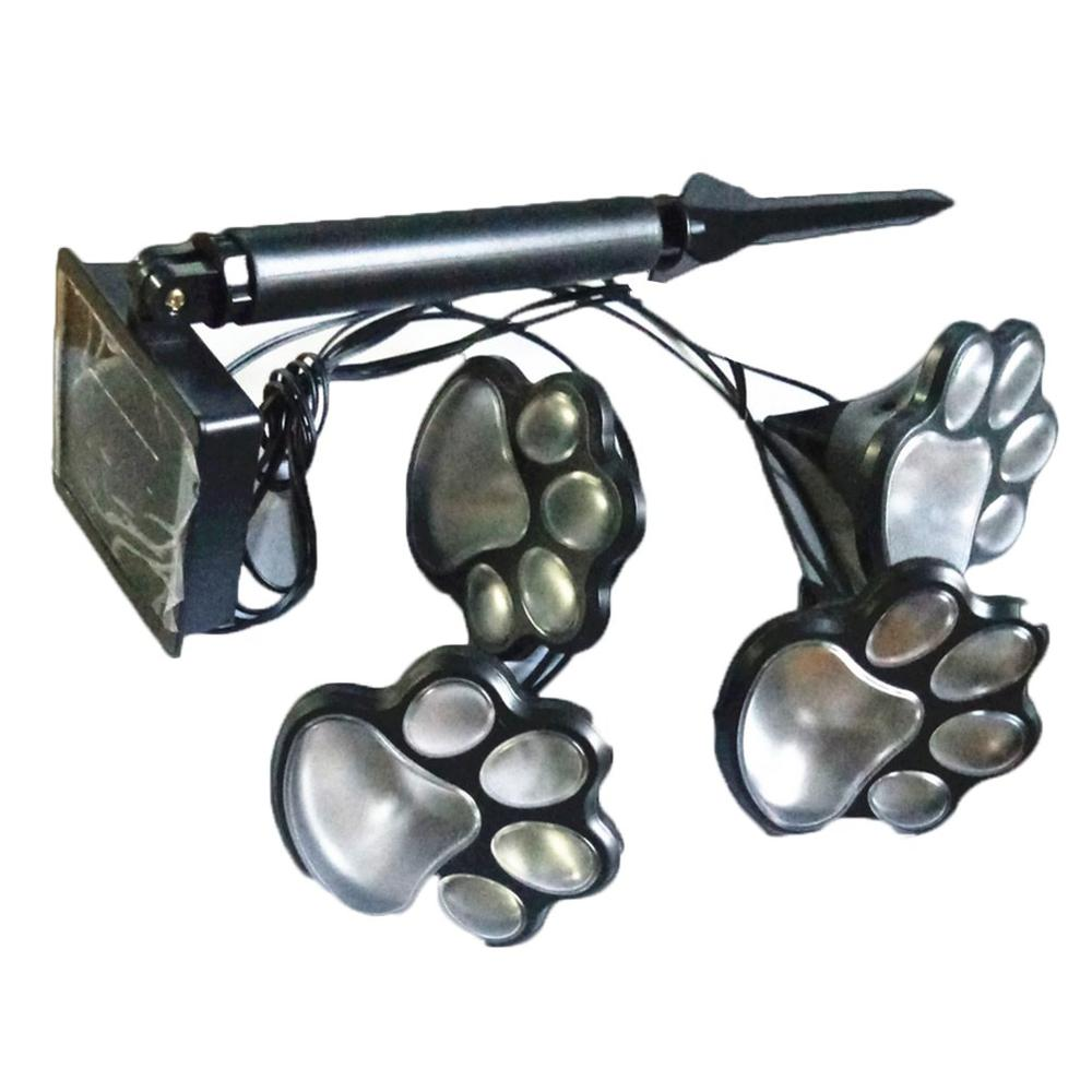Home Creative 4 Led Solar Dog Paw Printed Ground Light Garden Landscape Light Outdoor Animal Paw Print Light No Battery