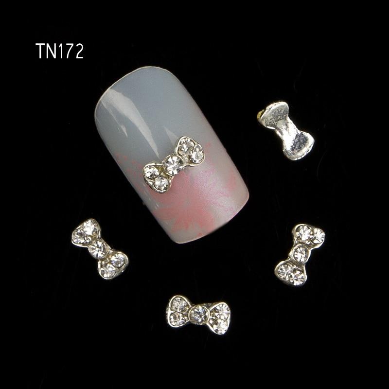 10pcs 3D shine bow Charm Decorations Glitter Alloy Metal Jewelry Rhinestones for Nail Art Studs Tools TN172