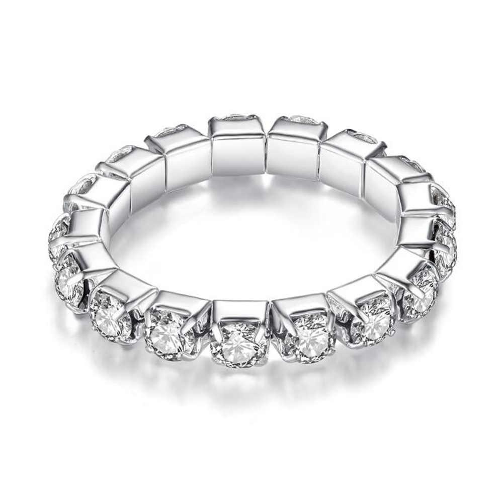 Promesse anneau incrusté Unique fiançailles mariage pour femmes 1/2/3/4 couches en alliage de Zinc bijoux argent femelle redimensionnable anneau D5