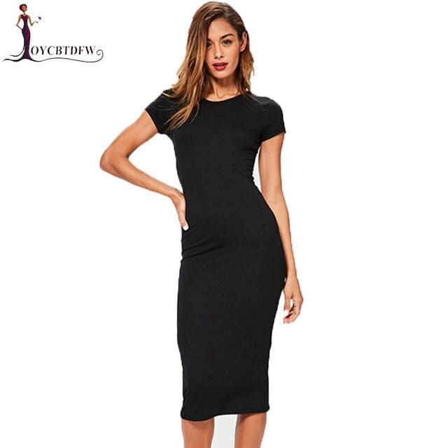 283f6ffa7f4 Summer Women Dress 2018 Round neck Slim Simple Female Long Dresses Short  sleeve Tight Solid color