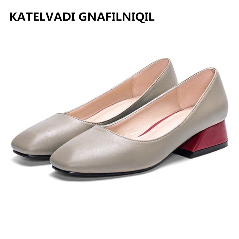 Spring Shoes Woman Pumps Retro Square Toe Shallow Shoes Thick Heels Women Office Shoes Pumps Mid Heels Mother Shoes FS-0149 2017 spring women retro pumps solid slip on sweet butterfly knot round toe med square thick heels shallow female shoes plus size