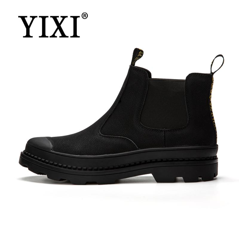 YIXI Autumn Fashion Casual For Men Ankle Chelsea Boots Male Shoes Cow Suede Leather Quality Slip Ons Motorcycle Man Boot цена 2017