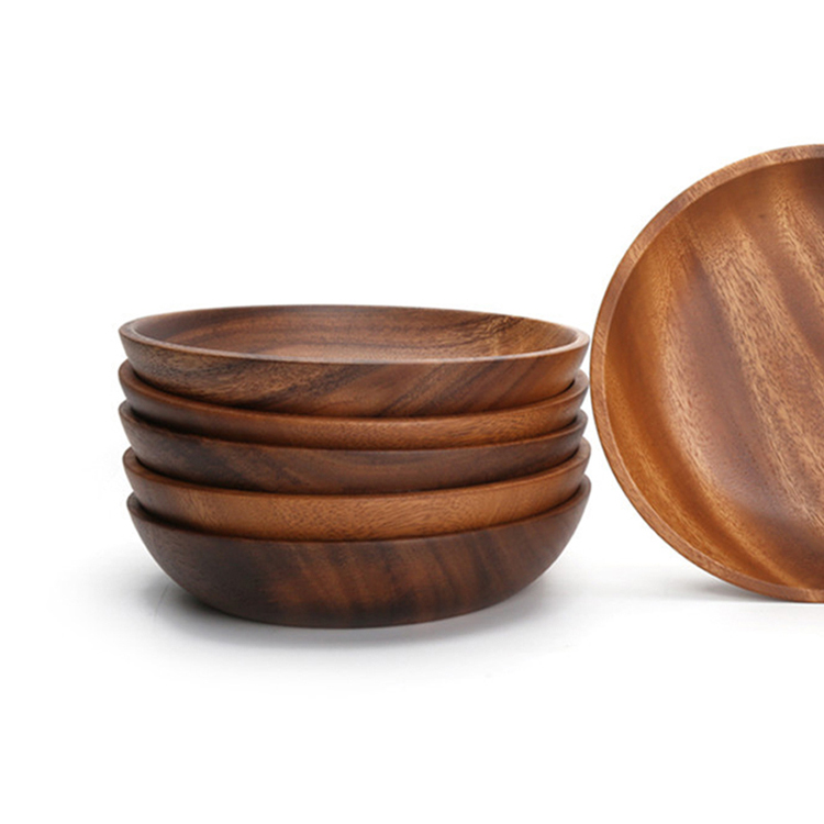 Large Round Wooden Salad Bowl Premium Acacia Wood Tableware Fruit Salad Food Serving Bowl Kitchen Wooden Utensils Wood Dishes (3)
