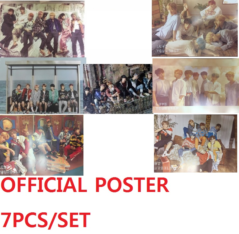 BTS - LOVE YOURSELF  - Her - 4PCS + YOU NEVER WALK ALONE 2PCS + WINGS 1PC ( 7 PCS/SET  ) - OFFICIAL POSTER - UNFOLDED love her wild