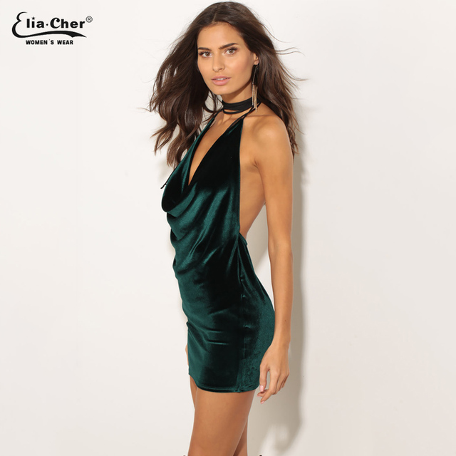 Elia-Cher Brand Forest Green Backless Strap Mini Dress