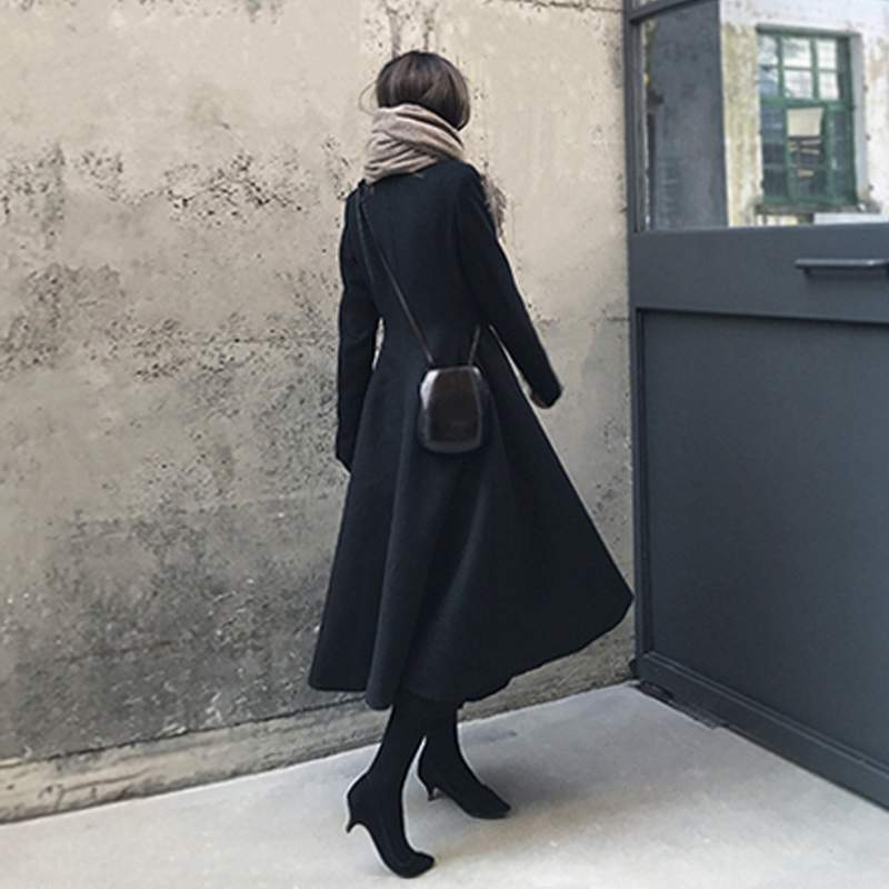 Noir Qualité Black Survêtement Veste Élégantes Nouvelles Haute Laine Boutonnage Mode Hiver Double 2018 De Pr555 Coréenne Femmes Mince Manteau nqU4FZY