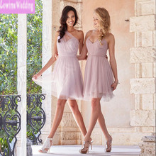 Short Two Designers Junior Bridesmaid Dress Cheap Only Pleats Ruched Light Pink Maid Of Honor Dresses Girls Party Gowns