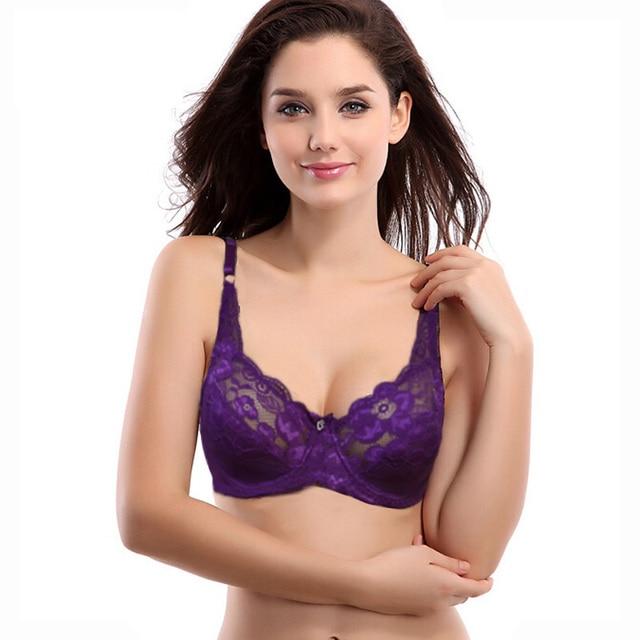 479e473a56 Vogue Secret Ladies Women Sexy 3 4 Cup Padded Lace Flroal Bra Everyday  Underwear Bralette BH Big Cup Lingerie 6 Colors Size