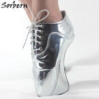 Sorbern יוניסקס סקסי עקבים גבוהים במיוחד משאבות שרוכים צלב רצועות המבריק PU הבוהן מחודדת נעלי נשות נעלי בלט ללא עקבות פרסה 43