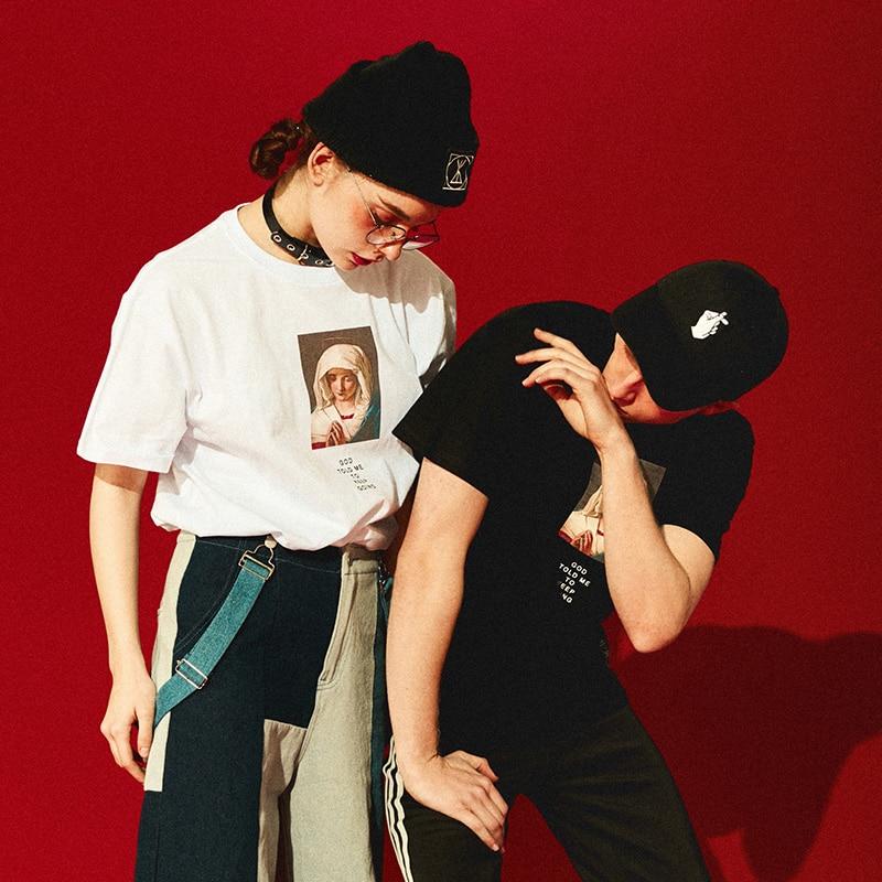 Aelfric Eden Tshirt Streetwear Mary Printed Short Sleeve T-shirt Summer Casual Cotton Hip Hop Tops Tees Swag Summer Tshirts KT54