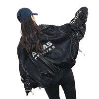 Europe baseball Coat Female loose Streetwear Basic Coat hip hop Vintage Bomber Jacket Loose BF Printed Vintage Harajuku Jacket