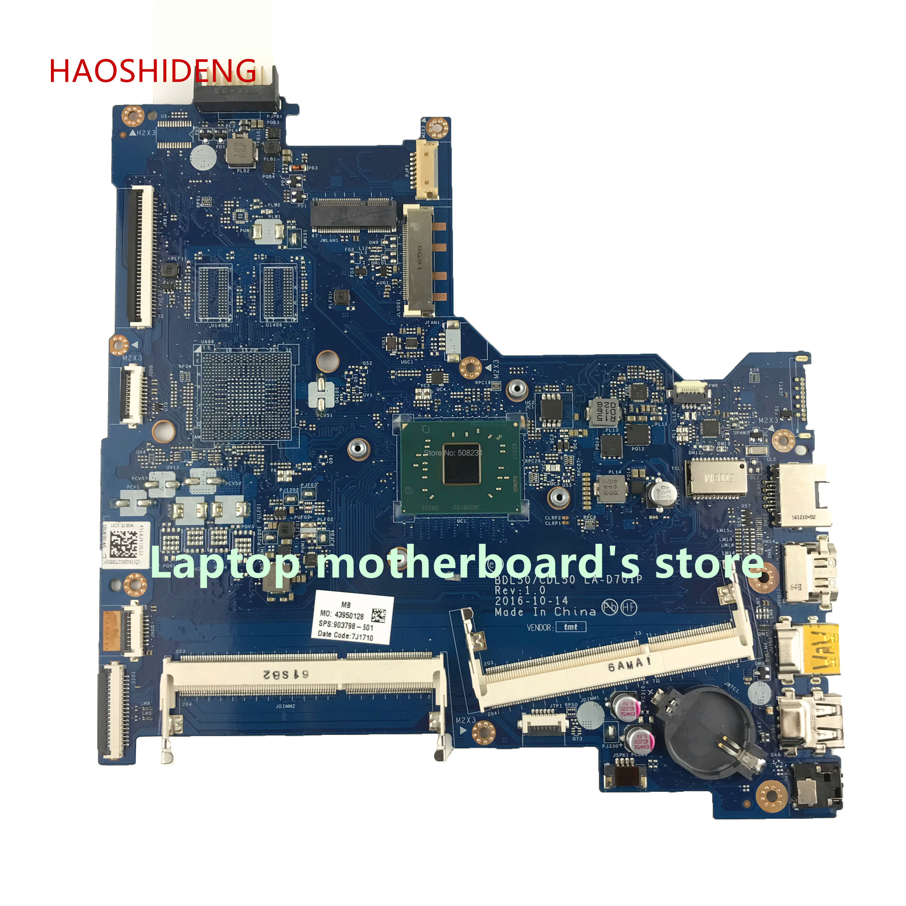 HAOSHIDENG 903798-601 LA-D701P mainboard for HP NOTEBOOK 15-AY 15-ay128nx laptop motherboard with PentN4200 fully Tested