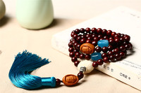 Natural Lobular Red Sandalwood Beads 108 Beaded Bracelet Blue Tassel Carved Olive Guanyin Pendant Men and Women's Yoga Necklace