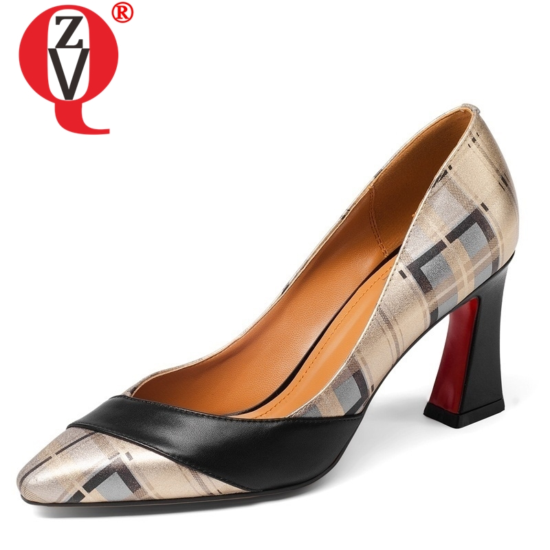 ZVQ Cow Leather maiden Shallow Pumps video engagement pumps woman comfortable spring mixed colors high heels