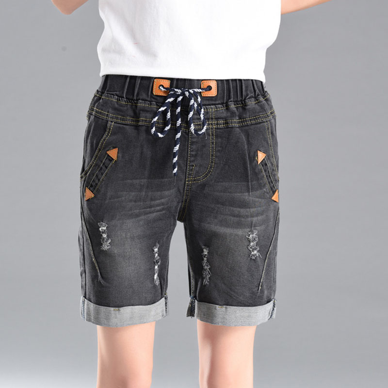 Large Size Women Fat Loose   Shorts   2019 Summer Student New Denim   Shorts   Female 200 Pounds Five Points Wide Leg Harem TrousersA096