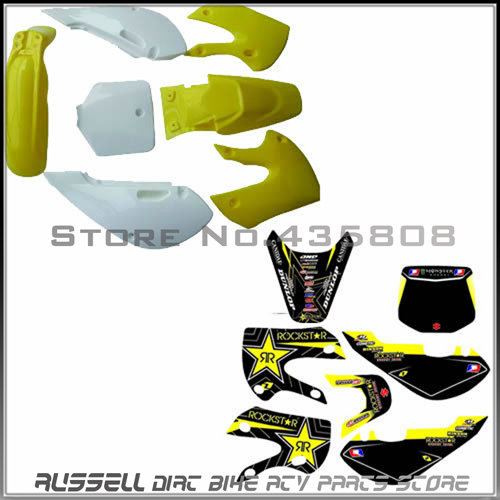 ФОТО yellow klx110 Plastics Body Kits&graphics sticker for KX65 KLX110 KX 65 KLX 110 MOTORCYCLE dirt bike/pit bike USE