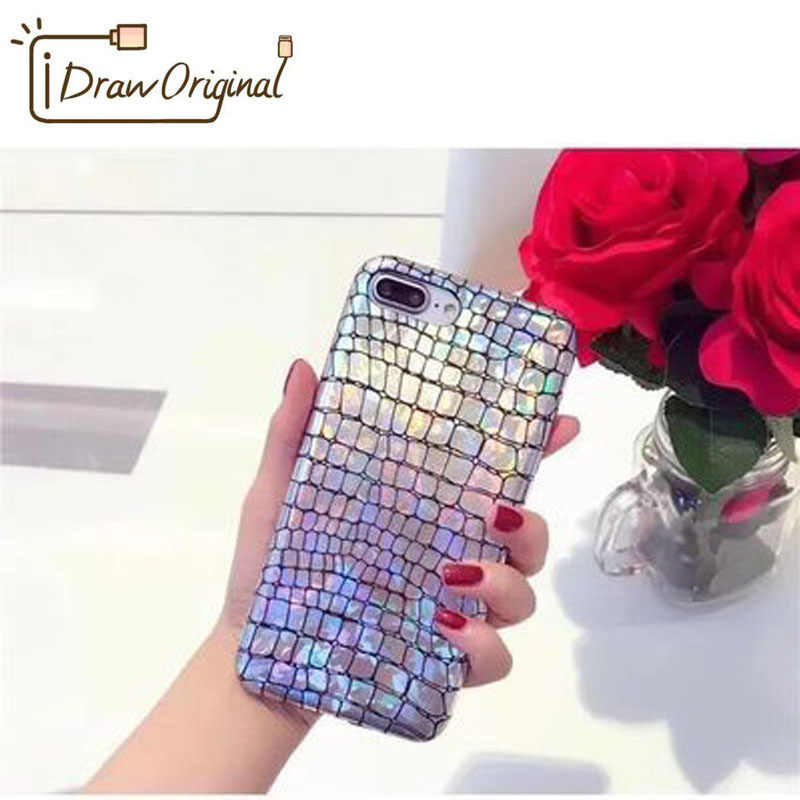 Draw Original Luxury Glitter Phone Case For iPhone 8 X Alligator Laser  Shining Case For iphone 7 6 6S Plus Soft TPU Back Cover