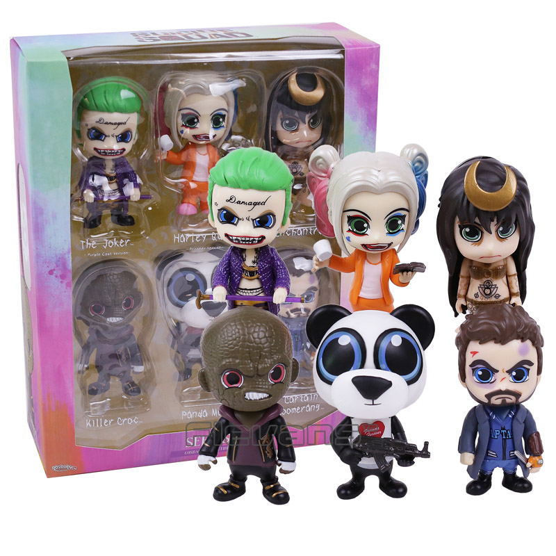 Suicide Squad The Joker Harley Quinn Killer Croc Captain Boomerang Panda Man Enchantress 6-pack PVC Figures Collectible Toys drizzte men s jeans classic stretch blue denim business dress straight slim jeans size 34 35 36 38 pants trousers jean for men