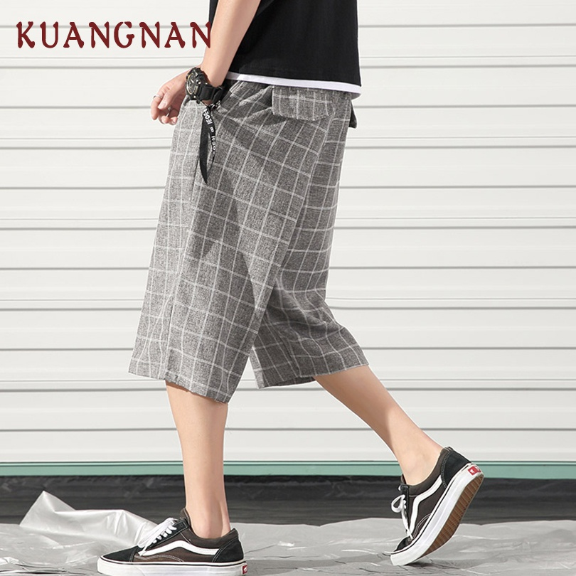KUANGNAN Joggers Pants Calf-Length-Pants Men Trousers Straight New Hip-Hop 5XL Fashions