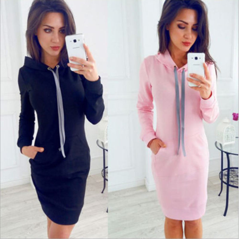 Autumn-Women-Fashion-Silm-Fit-Casual-Dresses-Winter-Hooded-Hoodies-Sweatshirt-Long-Sleeve-Dress-Solid-Color