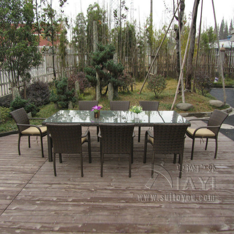 9 pcs Dark Brown Rattan Garden Dining Sets With Table And 8pcs Arms Chair transport by sea