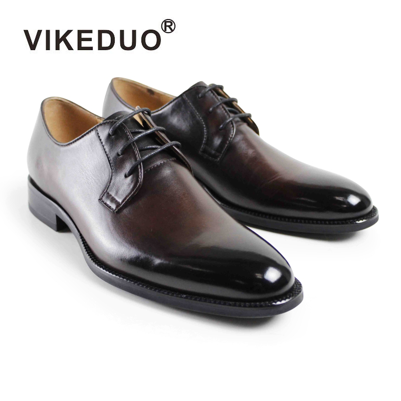цена на VIKEDUO Brand Handmade Dress Shoes For Men Wedding Office Formal Male Shoe Genuine Leather Footwear Derby Classic Zapatos Hombre