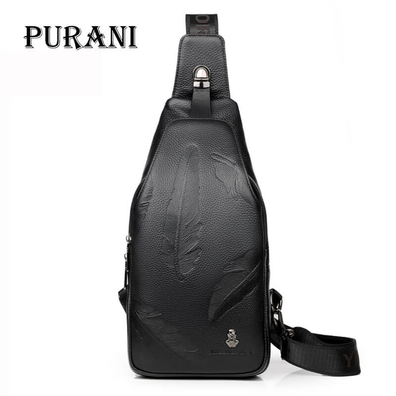 PURANI High Quality Men Genuine Leather Cowhide Sling Chest Back Day Pack Travel fashion Cross Body