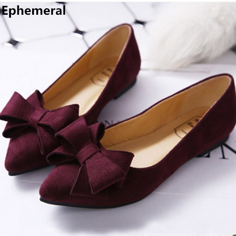 Lady Fashion Hot Sale Bow Pointy Toe Nubuck Leather Plus size 34-44 Low Cutter Women Single Shoes Sophia Webster Leisure Slip-On lady glitter high fashion designer brand bow soft flock plus size 43 leisure pointed toe flats square heels single shoes slip on