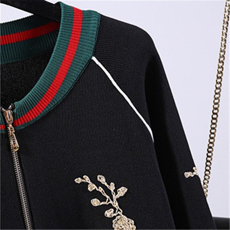 Cardigan H001 Femmes Fil De Tricot Nouvelle 2018 D'or Costume Black Casual Et Printemps Mode Broderie Veste Harem Automne Pantalon qTTIvY
