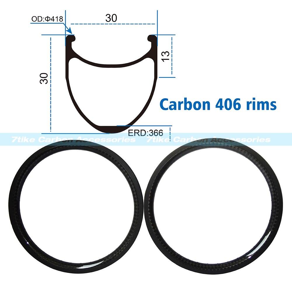 New carbon bmx bicycle Rims <font><b>20</b></font> inch 30x30mm Clincher 406 Road Bike Full Carbon Fiber Wheel 3K glossy