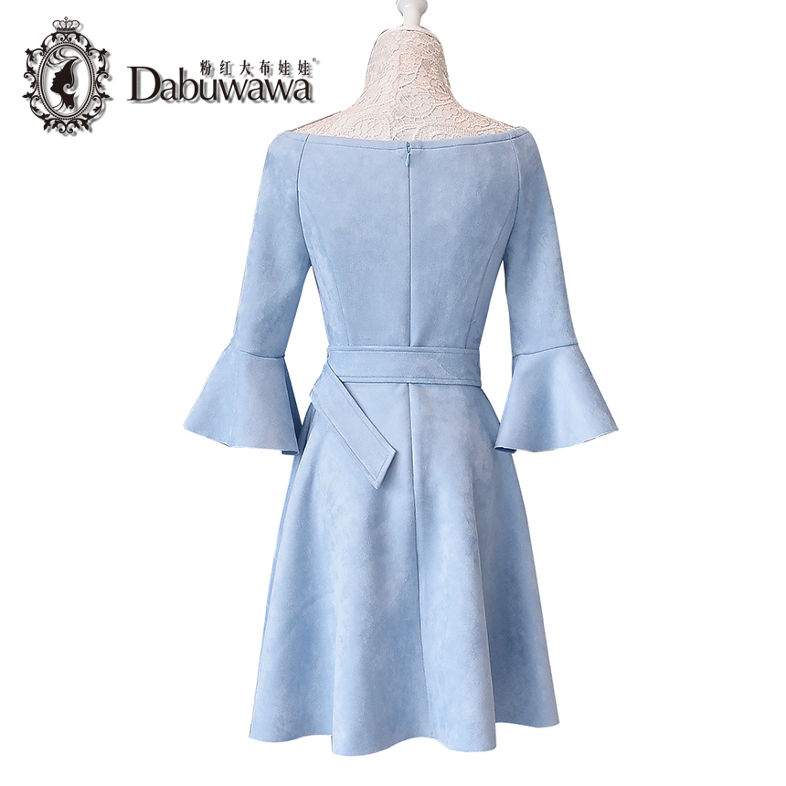 67c71557b078 Dabuwawa Sky Blue Spring Sexy Suede Off Shoulder Dress Women Ladies Elegant  Flare Sleeve Vintage Dress With Belt D17CDR328-in Dresses from Women s  Clothing ...