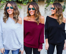 Kaywide 2016 New Autumn Casual Loose Sweater Women Fashion Clothing Off Shoulder Long Batwing Sleeve Pullover Sweaters A16408