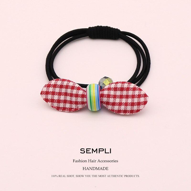 Sempli Cotton Plaid Elastic Bow-Knot For Women Crystal Beads Hair Band Kid Children Rubber Band Hair Accesorios Para El Cabello