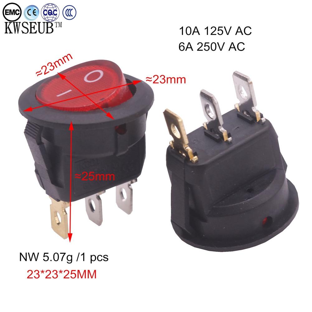 50 pcs 23 * 23 * 25mm 20A 125V/250V AC Power switch with LED Red light