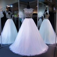 Long Sparkly Prom Dresses 2018 Scoop Heavy Beaded Crystals Top Floor Length White Tulle Backless African Prom Dress