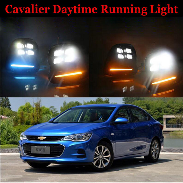Hireno Super Bright Led Daytime Running Light For Chevrolet Cavalier 2017 Car Drl Fog Lamp 2pcs