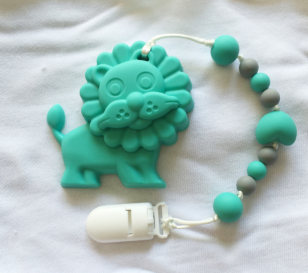Bpa silicone baby teething pendant clips silicone teething bpa silicone baby teething pendant clips silicone teething pacifier clip with large lion pendant heart chew bead wholesale in pendants from jewelry mozeypictures Gallery