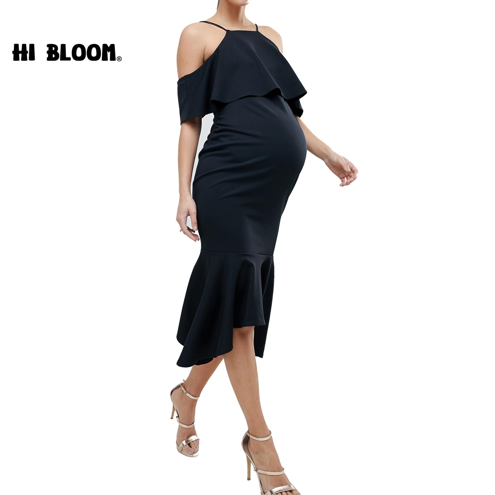 Tencel Maternity Dresses Black Sexy Evening Dress For Pregnant Women Lycra Maternity Clothes Pregnancy Dresses photo